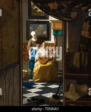 Johannes Vermeer, The Love Letter, painting, c. 1669 - Stock Photo
