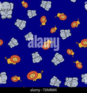 Seamless pattern of elephants and lions in in cartoon style. On color background, vector illustration. - Stock Photo