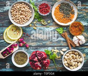 Arab ingredients for middle eastern food - Stock Photo