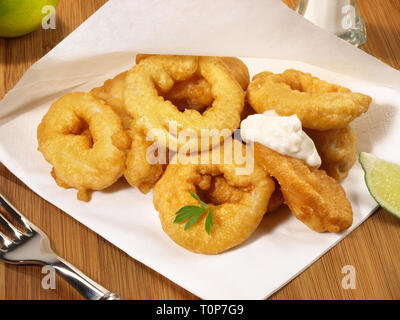 Deep Fried Calamari - Take away - Stock Photo