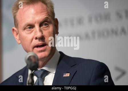Acting U.S. Secretary of Defense Patrick Shanahan addresses the Center for Strategic and International Studies March 20, 2019 in Washington, D.C. Shanahan is under investigation by the Pentagon Inspector General for allegedly advocating improperly on behalf of his former employer, Boeing Corporation. - Stock Photo