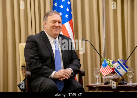 Jerusalem, Israel. 21st Mar, 2019. U.S. Secretary of State Mike Pompeo during a bilateral meeting with Israeli President Reuven Rivlin March 21, 2019 in Jerusalem, Israel. Credit: Planetpix/Alamy Live News - Stock Photo