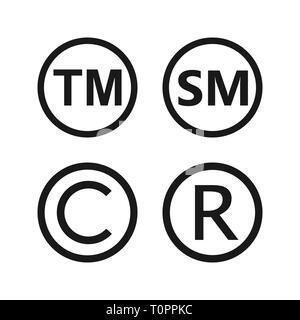 Copyright, registered trademark, smartmark icons set Vector illustartion