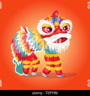 Vintage Chinese lion dance. Dragon dance. Happy Chinese New Year. Chinese new year festival. Vector illustration - Stock Photo