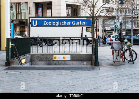 Zoologischer Garten U-bahn Underground Railway station entrance in Charlottenburg, Berlin - Stock Photo