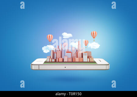3d rendering of a smartphone floating horizontally with a modern city rising from its screen with clouds and hot air balloons above the high-rise - Stock Photo
