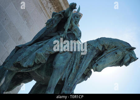 Statue Arpad of Seven Chieftains of the Magyars in Heroes Square Budapest Hungary