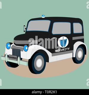 Security guard police retro car. Isometric 3D view of classic vehicle. Vintage model of garage restoration. Graphic art isolated auto - Stock Photo