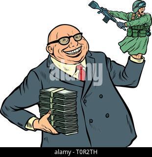 War propaganda. Soldier attacks. Politician with money. Pop art retro vector illustration kitsch vintage - Stock Photo