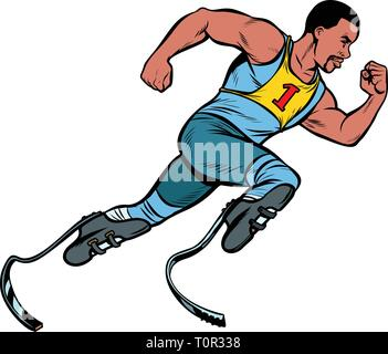 disabled African runner with leg prostheses running forward. sports competition. Pop art retro vector illustration vintage kitsch - Stock Photo