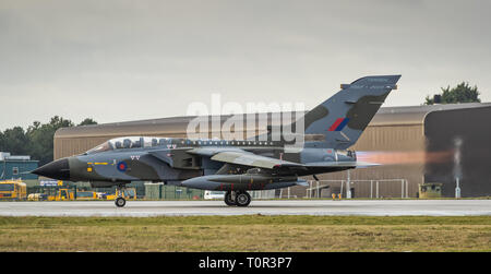 RAF Tornado GR4 from RAF Marham takes off with full afterburners - Stock Photo