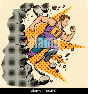 breaks the wall disabled runner with leg prostheses running forward. sports competition. Pop art retro vector illustration vintage kitsch - Stock Photo