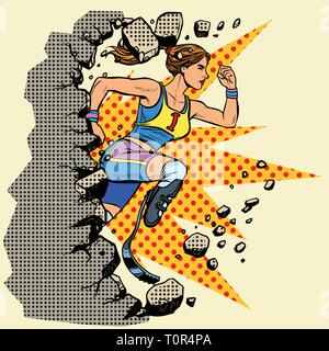 breaks the wall disabled woman runner with leg prostheses running forward. sports competition. Pop art retro vector illustration vintage kitsch - Stock Photo