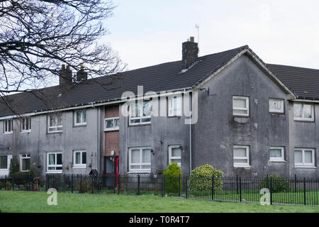 Poor council house for rent or for sale grey dark and dull - Stock Photo