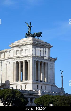 Vittorio Emanuele II Monument, or Altare della Patria, Altar of the Fatherland, National Monument & Victoria Goddess of Victory & Quadriga Rome Italy - Stock Photo