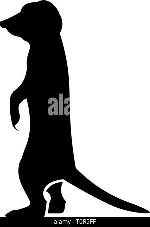 This vector image shows a standing meerkat in glyph icon design. It's isolated on a white background. - Stock Photo