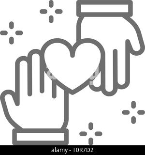 Hands with heart, donation, volunteering, charity, good deeds line icon. - Stock Photo