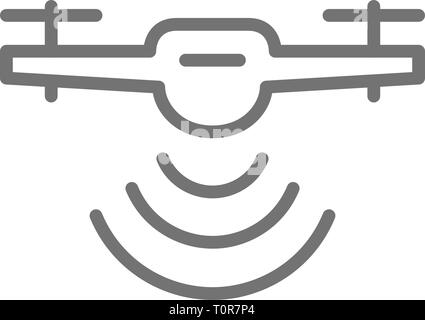 Drone with radio waves, wireless, radar detection system, delivery service line icon. - Stock Photo