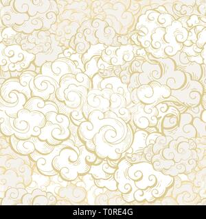 Chinese clouds hand drawn vector seamless pattern. Japanese, oriental style textile ornament. Golden outline swirls, curls background. Asian traditional holidays postcard backdrop, wrapping paper - Stock Photo