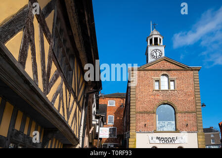 Town Hall and half timbered building in Bishops Castle, Shropshire, England, UK - Stock Photo