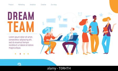 Vector dream team concept creative business illustration with working people.  - Stock Photo