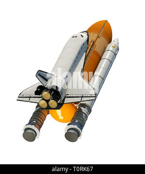 American Space Shuttle Isolated On White Background. 3D Illustration. - Stock Photo