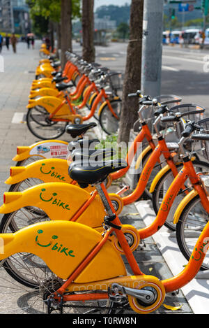 Ubike ( YouBike ) station. Ubike is a popular network of rental bicycle in Taipei. A bike sharing system service used by citizens as short-distance tr