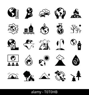 Set of vector icons on the theme of ecology, global warming and ecology problems of our planet. - Stock Photo