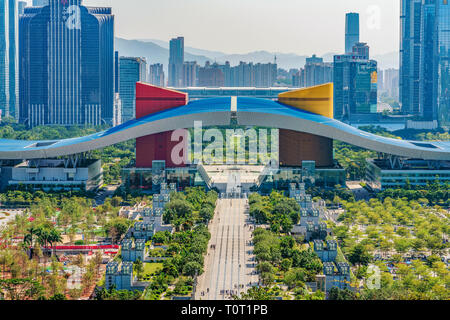 SHENZHEN, CHINA - OCTOBER 28: This is a view of Civic Center, a famous landmark building in the downtown area on October 28, 2018 in Shenzhen - Stock Photo