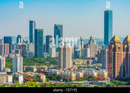 SHENZHEN, CHINA - OCTOBER 28: View of modern city buildings in the downtown area taken from Lianhuashan park on October 28, 2018 in Shenzhen - Stock Photo