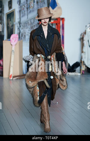 Model on the catwalk during the Matty Bovan show during LFW AW19 held at the BFC Show Space, 180 Strand, WC2R 1EA - Stock Photo