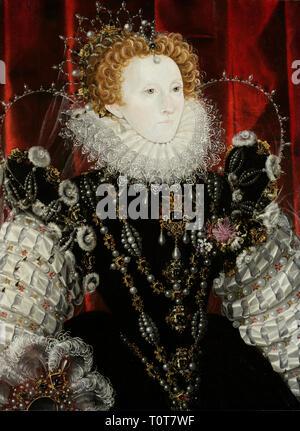 Elizabeth I, by Nicholas Hilliard. Portrait of Elizabeth I of England (1533–1603), - Stock Photo