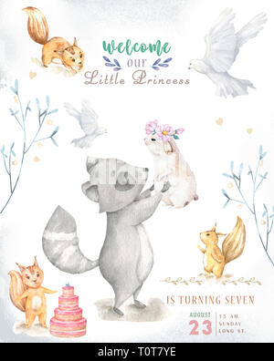 Cute watercolor bohemian baby cartoon roccoon and squirrel animal for kindergarten, woodland deer, fox and owl nursery isolated forest illustration fo - Stock Photo