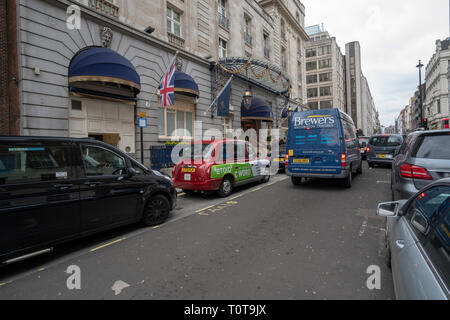 Grey spring afternoon on Arlington Street, St James's, London in United Kingdom - Stock Photo