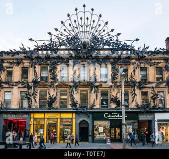 Row of shops with decorative ironwork, Argyll Arcade, Buchanan Street, Glasgow, Scotland, UK - Stock Photo