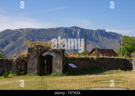 Gate and wall of medieval Armenian monastic complex Haghpatavank, Haghpat - Stock Photo