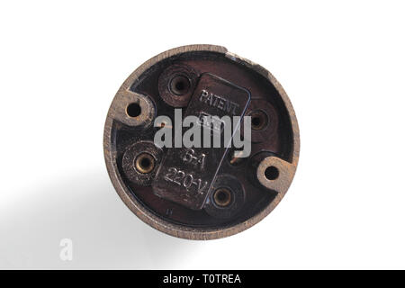 Antique switch on off bakelite back, isolated on white background, close-up - Stock Photo