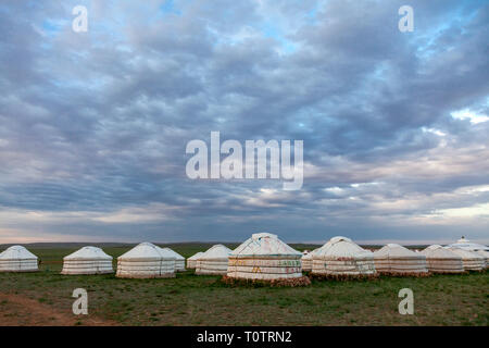 A ger (yurt) camp on the Gegentala grasslands north of Hohhot in Inner Mongolia, China. - Stock Photo