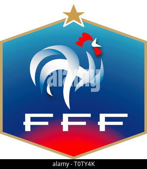 Logo of the French Football Association FFF and the National team - France. - Stock Photo