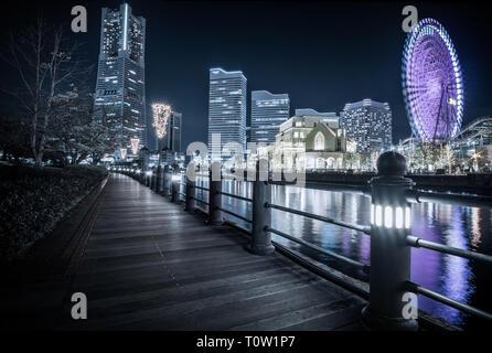 Night scene in Minato Mirai, Yokohama, Japan - Stock Photo