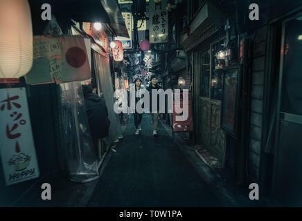Evening in Omoide Yokocho in Shinjuku, Tokyo. Omoide Yokocho is a maze of narrow alleys close to Shinjuku Station famous for its small restaurants. - Stock Photo