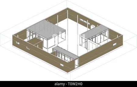Wireframe perspective of a modern house in Japan. - Stock Photo
