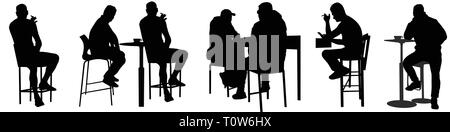 Silhouette Of Couple Sitting On Bar Stools At High Table
