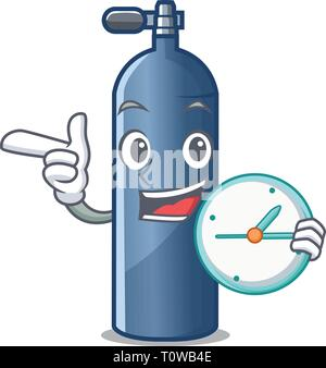 With clock air tank diving isolated the mascot - Stock Photo