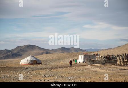 bayan Ulgii, Mongolia, 30th September 2015: mongolian kazakh nomad home in a landscape of Western Mongolia - Stock Photo