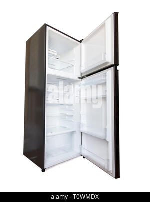 The open new fridge isolated on a white background. Empty refrigerator with open door. - Stock Photo