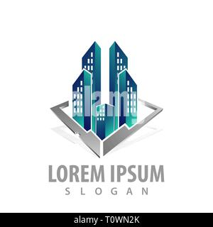 Skyscrapers building in 3D style concept design. Symbol graphic template element - Stock Photo