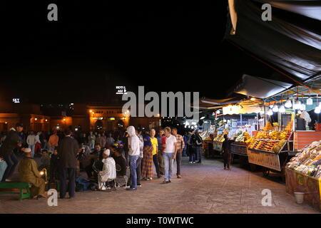 Food stalls at the Night Market, Jemaa el Fna, Medina, Marrakesh, Marrakesh-Safi region, Morocco, north Africa - Stock Photo