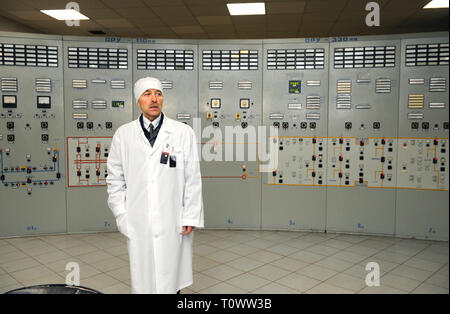 Main control board in a control operations room of the reactor of the Chernobyl Nuclear Power Plant. April 20, 2018. Chernobyl, Ukraine - Stock Photo