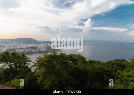 The Rio de cityscape view during sunset. - Stock Photo